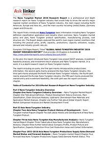 Nano Tungsten Market 2016 to 2020 Global Industry Analysis & Forecast