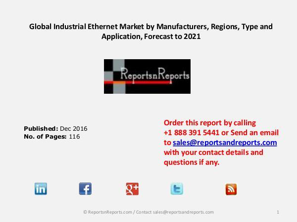 Industrial Ethernet Market Booming Global Industry Trend 2016 - 2021 December 2016