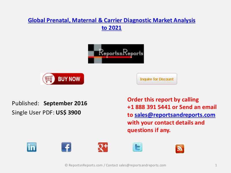 Global Prenatal, Maternal & Carrier Diagnostic Market Sep 2016