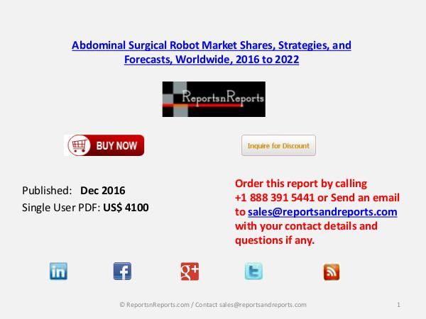 Abdominal Surgical Robot Market Reach $ 12.9 billion by 2022 Dec 2016