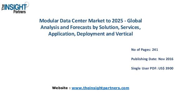 Modular Data Center Market is expected to reach US$ 22.41 Bn by 2025 Modular Data Center Market to 2025