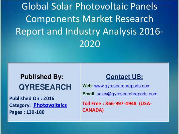 Research Report Global Solar Photovoltaic Panels Components