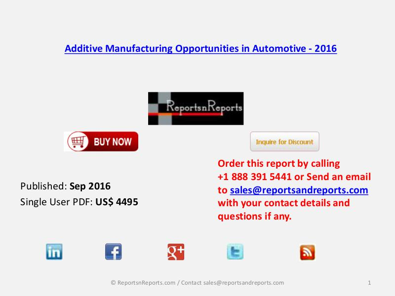Additive Manufacturing Market Advantages to Firms in Automotive 2016 Sep 2016