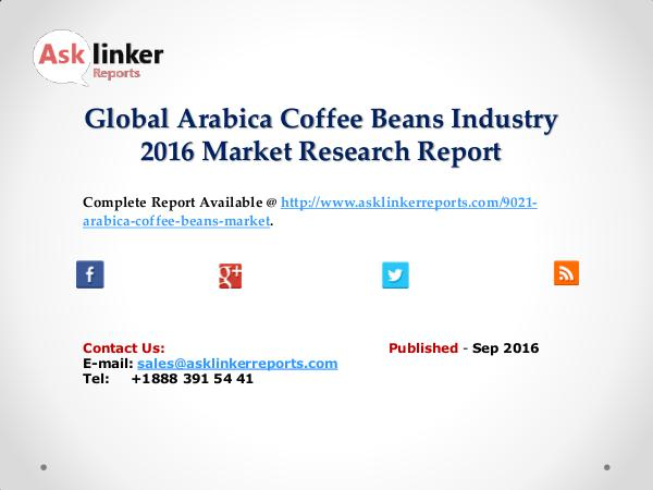 Global Arabica Coffee Beans Market Production and Application in 2016 Sep 2016