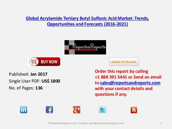 Acrylamide Tertiary Butyl Sulfonic Acid Market 2016 APAC to Grow High Jan 2017