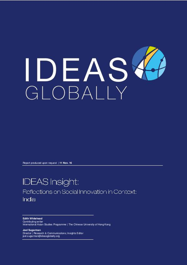 Reflections on Social Innovation in Context: India