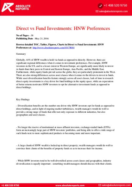 Global High-Net-Worth Preference Report: Direct vs Fund Investment 1