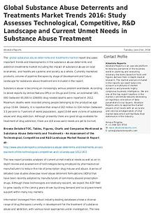 Global Substance Abuse Deterrents and Treatments Market Trends 2016