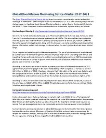Global Blood Glucose Monitoring Devices Market Development Analysis