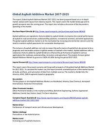 Global Asphalt Additives Market Research Report 2017-2021