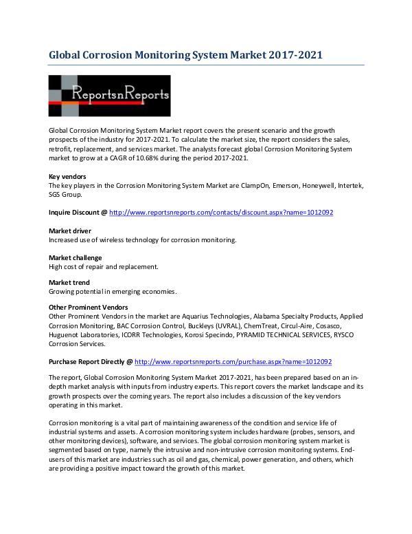 Global Corrosion Monitoring System Market Analysis 2017-2021 May 2017