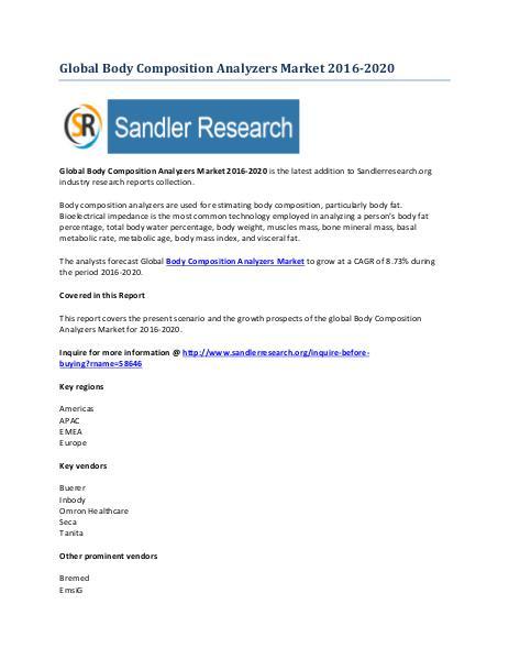 Body Composition Analyzers Market Key Vendors Research Report to 2020 Body Composition Analyzers Market Key Vendors Rese