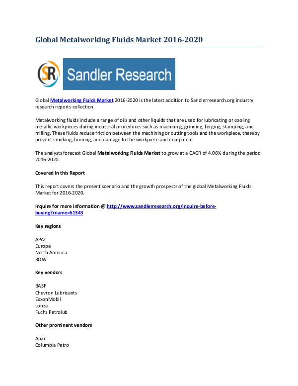 Metalworking Fluids Market Key Vendors Research Report to 2020 Sep-2016