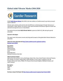 Adult Vibrator Market 2016-2020 Global Research Report