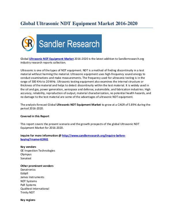 Ultrasonic NDT Equipment Market Key Vendors Research Report to 2020 Nov-2016