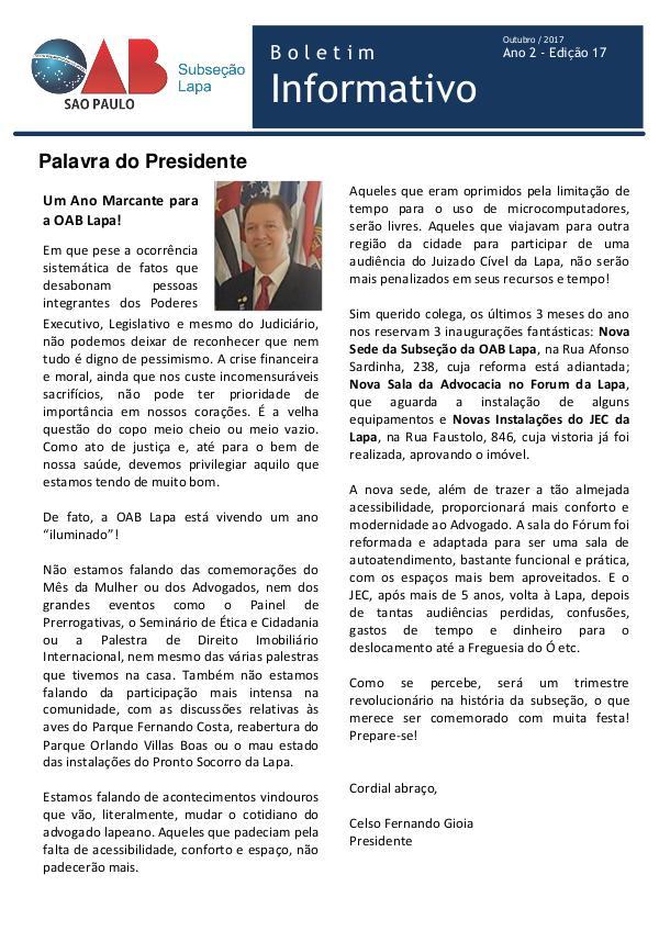 Boletim Informativo OAB Lapa Edição 17 - Outubro 2017