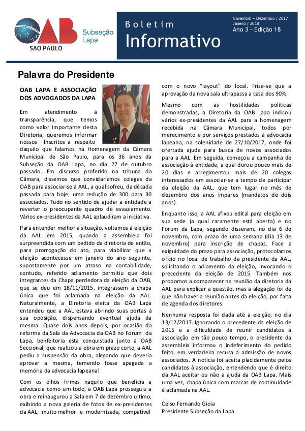 Boletim Informativo OAB Lapa Edição 18 - Novembro/Dezembro 2017 e Janeiro 2018