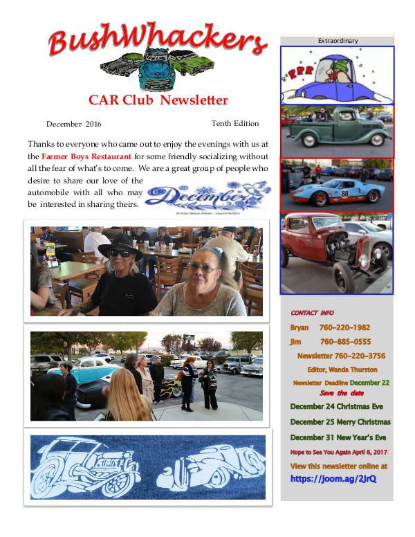 BushWhackers Car Club Newsletter December 2016  Tenth Edition