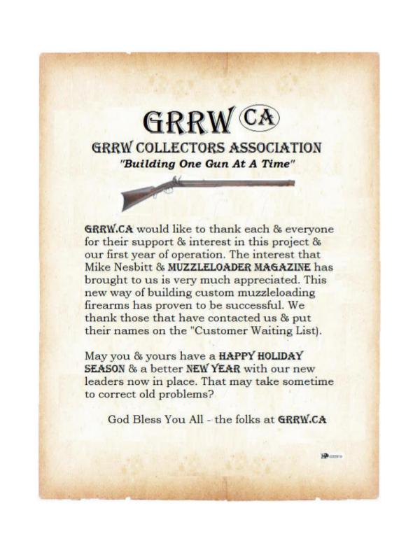 GRRW Collectors Association Thank You for your support and well wishes. Buck..