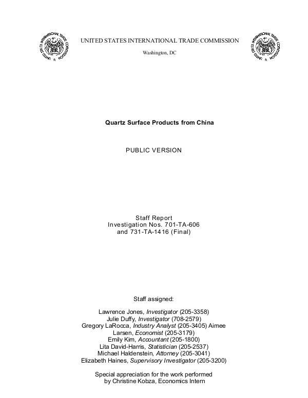 Final USITC Report on Chinese Quartz Imports June 2019