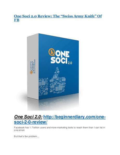 One Soci 2.0 Review – (Truth) of One Soci 2.0 and Bonus One Soci 2.0 Reviews and Bonuses-- One Soci 2.0
