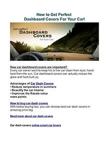 Buying Tips: Get Perfect Dashboard Covers For Your Car!