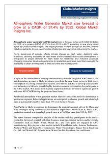 Atmospheric Water Generator Market size revenue worth $ 9.3bn by 2022