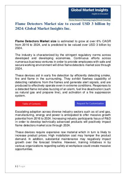 Flame Detectors Market size to exceed USD 3 billion by 2024 Flame Detectors Market size to exceed USD 3 billio