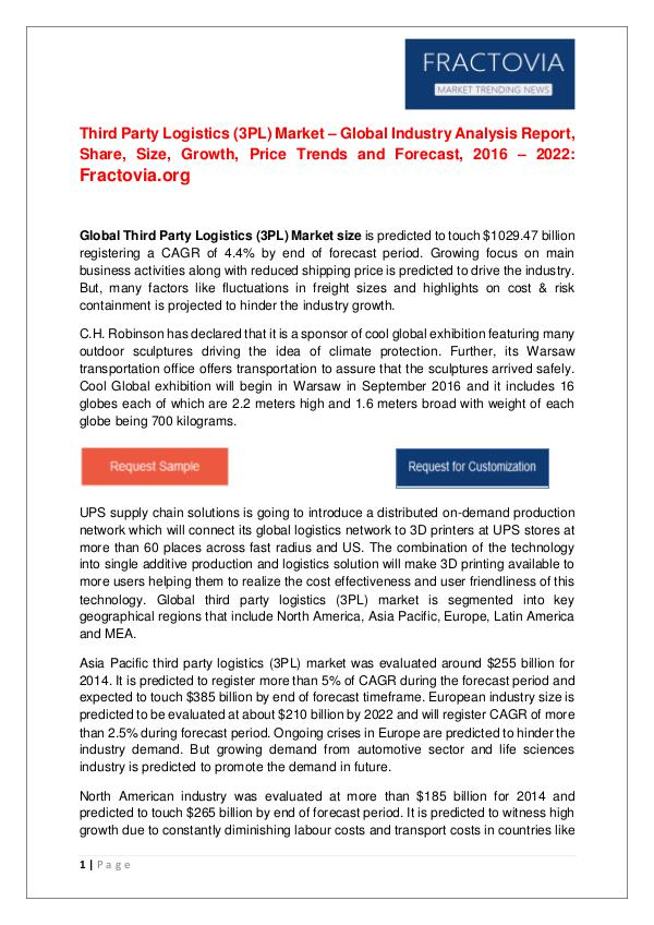 3PL Logistics Market – Global Industry Analysis Report, Share by 2022 Size, Growth, Price Trends and Forecast, 2022