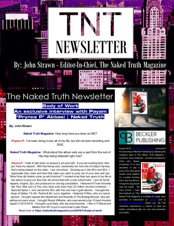 The Naked Truth Newsletter November 22nd, 2016