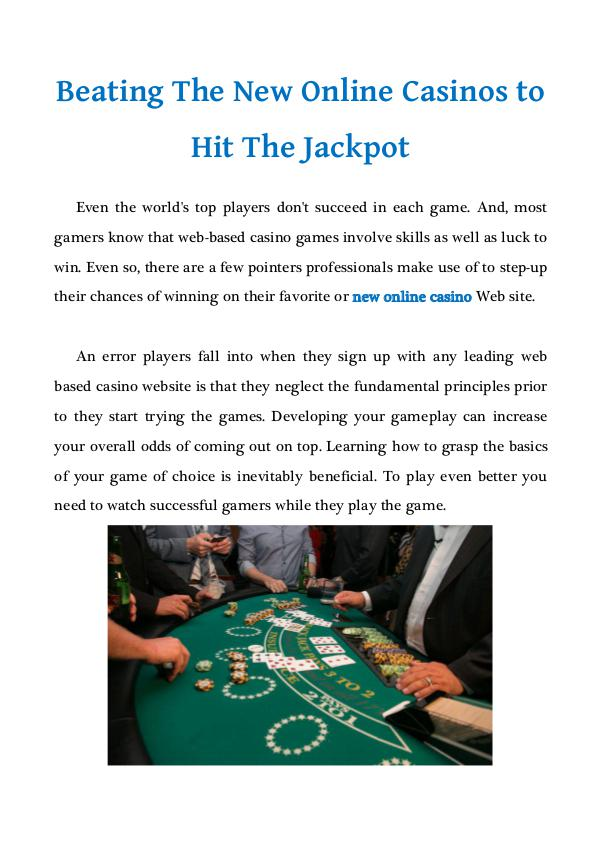 Beating The New Online Casinos to Hit The Jackpot Beating The New Online Casinos to Hit The Jackpot