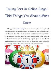 Taking Part in Online Bingo? This Things You Should Must Know