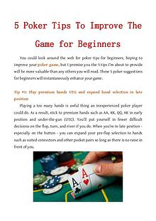 5 Poker Tips To Improve The Game for Beginners