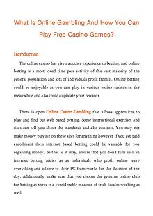 What Is Online Gambling And How You Can Play Free Casino Games?