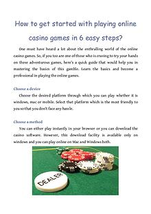 How to get started with playing online casino games in 6 easy steps