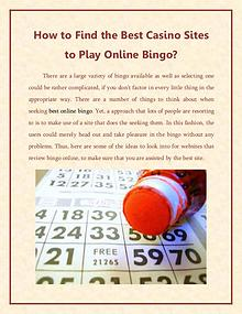 How to Find the Best Casino Sites to Play Online Bingo?