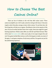 How to Choose The Best Casinos Online?