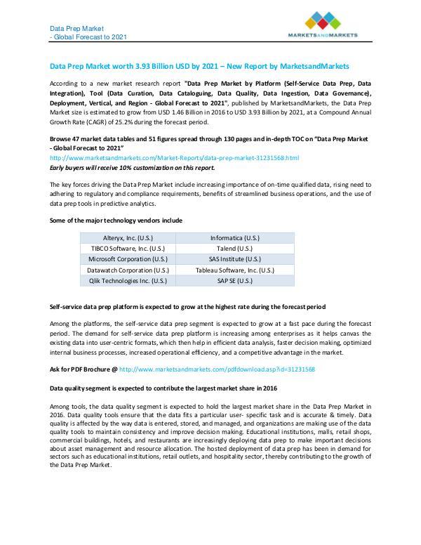 Data Prep Market - Global Forecast to 2021 Data prep market