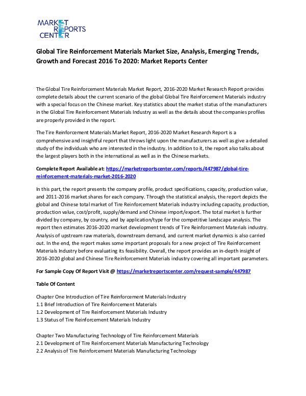 Global Tire Reinforcement Materials Market