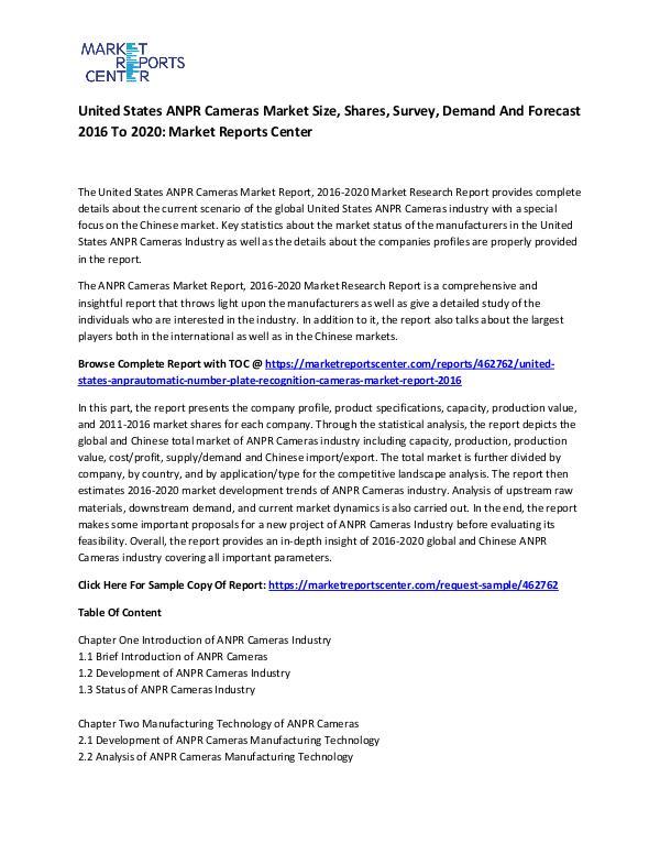 United States ANPR Cameras Market