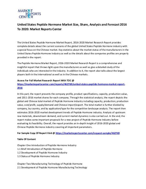 United States Peptide Hormone Market