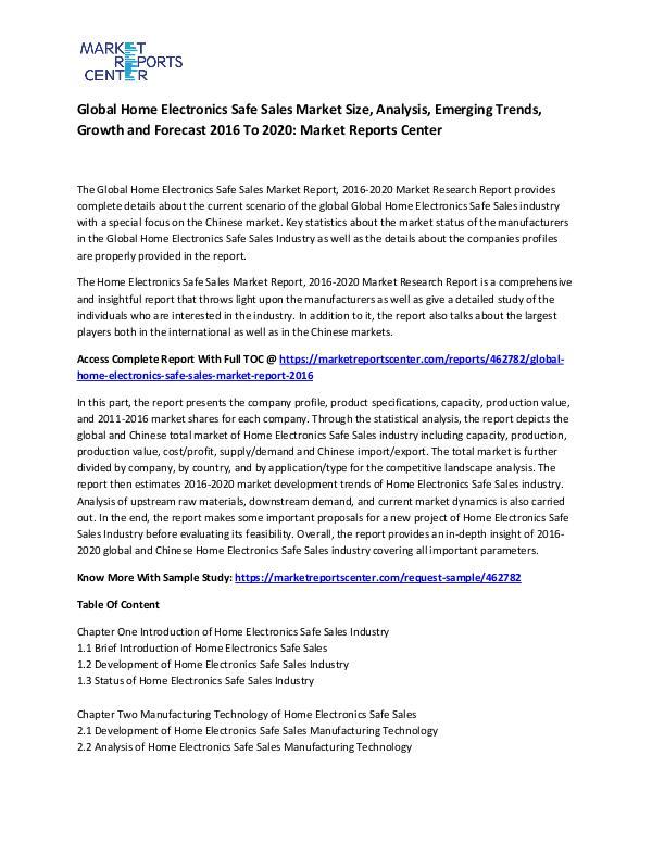 Global Home Electronics Safe Sales Market