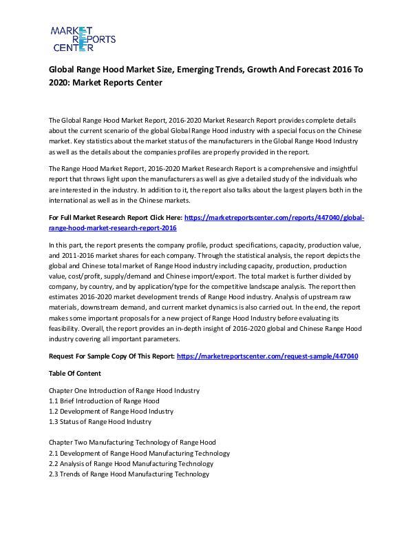 Global Range Hood Market
