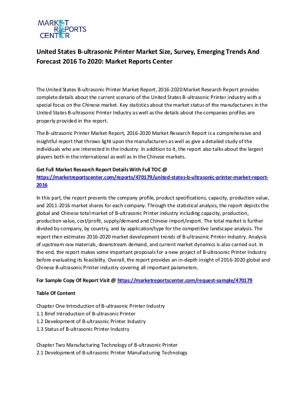 Emerging Research Reports United States B-ultrasonic Printer Market