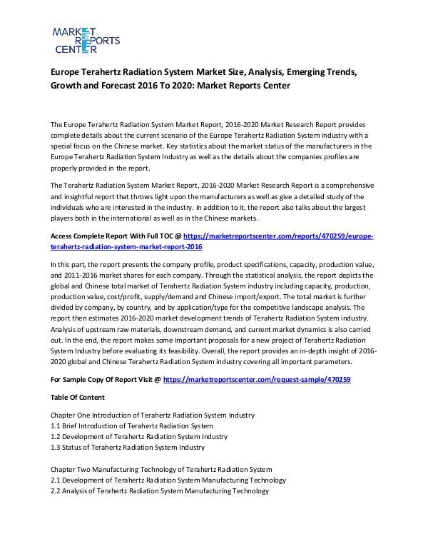 Emerging Research Reports Europe Terahertz Radiation System Market