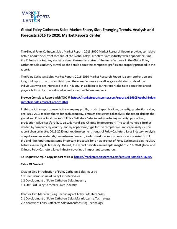 Global Foley Catheters Sales Market