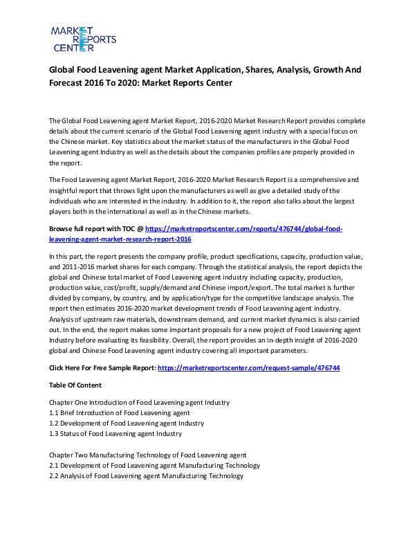 Global Food Leavening agent Market