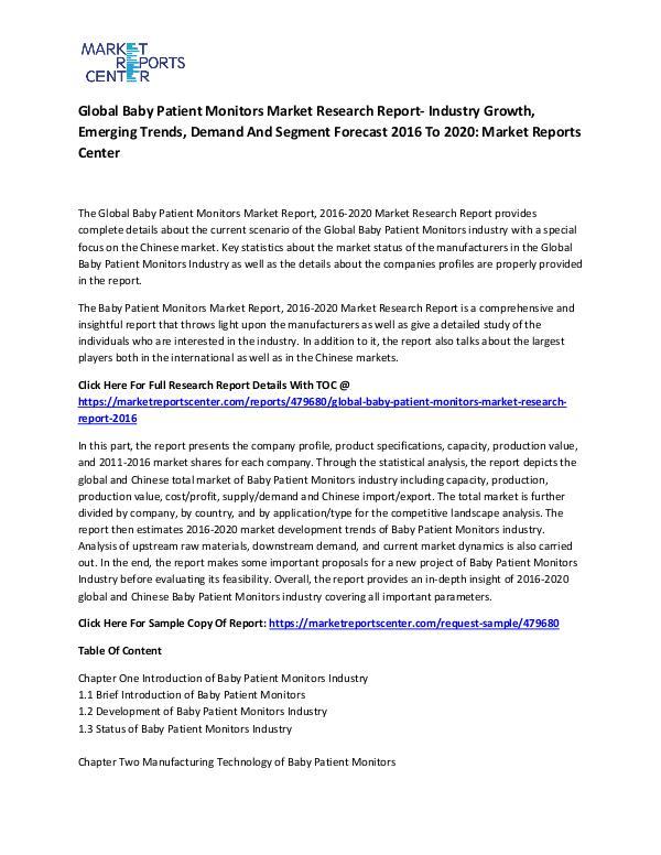 Global Baby Patient Monitors Market