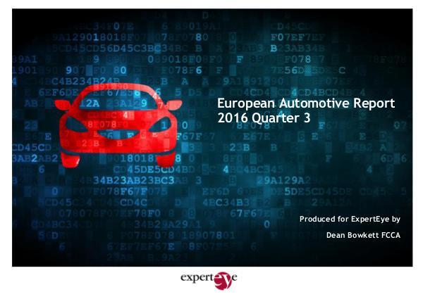 ExpertEye European Automotive Report Q3 2016