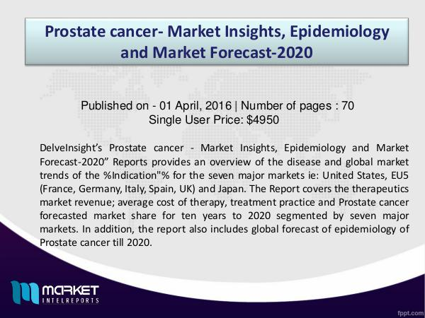 Review on Prostate cancer- Market Insights & Drugs Sales Forecast (VT 1